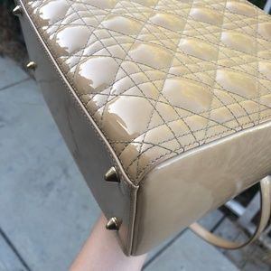Dior Bags - PATENT LEATHER CANNAGE LADY DIOR MEDIUM BEIGE